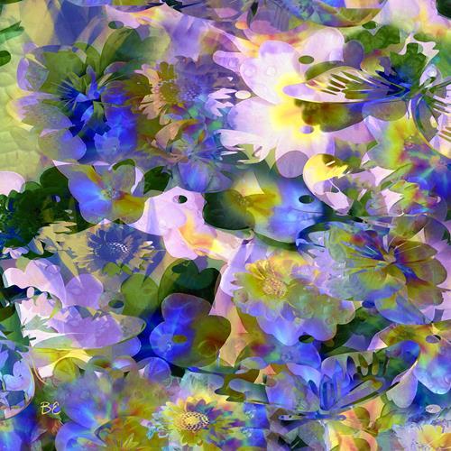 Beate Ehmann, Blau, Pflanzen: Blumen, Abstraktes, Abstrakte Kunst