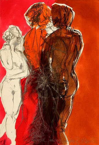 Ellen Bittner, MEETING III, Menschen: Gruppe, Akt/Erotik, Gegenwartskunst, Expressionismus