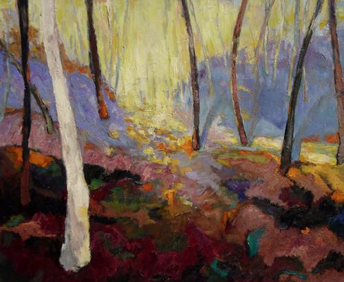 Monika Dold, Gleissendes Licht, Landschaft: Hügel, Landschaft: Herbst, Abstrakte Kunst