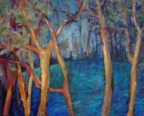 Monika Dold, Landschaft in blau, Landschaft, Diverse Landschaften, Abstrakte Kunst