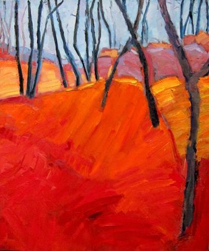 Monika Dold, Roter Hang, Diverse Landschaften, Landschaft: Sommer, Abstrakte Kunst