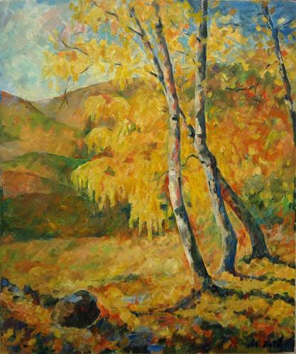Monika Dold, Goldener Herbst, Abstr. II, Bauten: Haus, Abstraktes, Impressionismus, Expressionismus