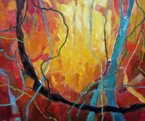 Monika Dold, Herbstfeuer, Landschaft: Herbst, Landschaft: Hügel, Abstrakte Kunst, Abstrakter Expressionismus