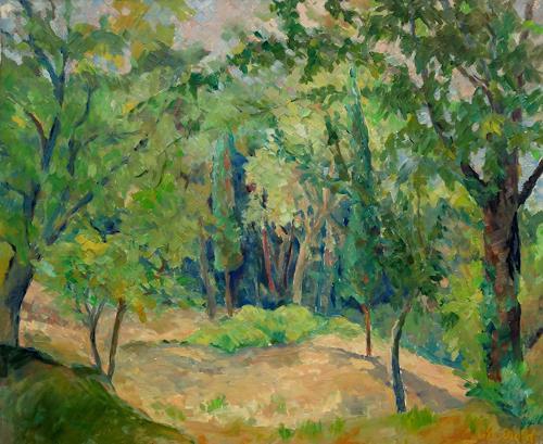 Monika Dold, Morgenidylle Toskana, Landschaft: Hügel, Natur: Wald, Impressionismus