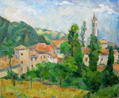 Monika Dold, Besozzola, Landschaft: Berge, Architektur, Impressionismus