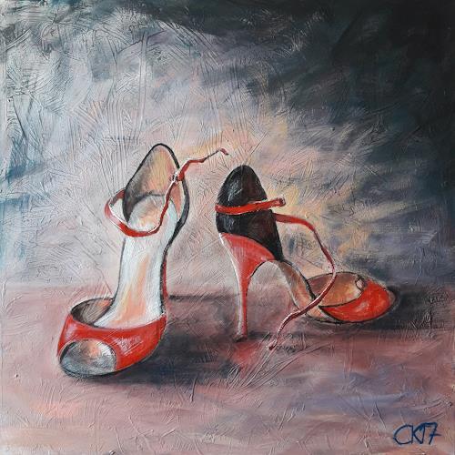 Caroline Roling, zapatos de tango mujer, Stilleben, Gegenwartskunst, Expressionismus