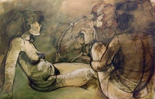 Caroline Roling, Freundinnen1, Menschen: Frau, Gegenwartskunst, Expressionismus