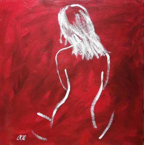 Caroline Roling, rücken auf rot, Akt/Erotik: Akt Frau, Gegenwartskunst, Abstrakter Expressionismus