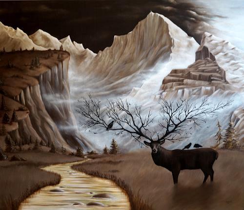 Claudia Kohlmayer, Tolerant world, Landschaft: Berge, Tiere: Land, Abstrakte Kunst, Expressionismus
