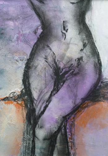 Andrea Titscherlein, woman - sit down, Akt/Erotik: Akt Frau, Menschen: Frau, Konkrete Kunst, Expressionismus