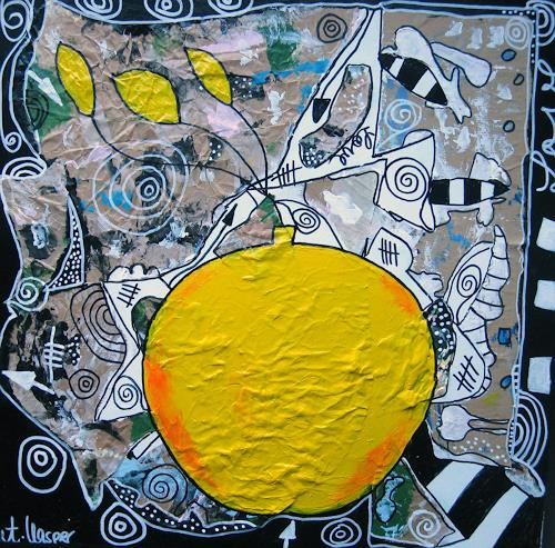 Andrea Kasper, Viel GELB wenig BLAU, Natur, Ernte, Abstrakte Kunst, Abstrakter Expressionismus