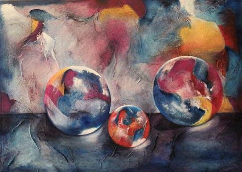 Beatrice Gugliotta, Drei mal rund, Stilleben, Fantasie, Moderne, Expressionismus