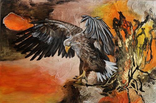 Beatrice Gugliotta, Der Adler, Tiere: Luft, Natur: Luft, Moderne, Abstrakter Expressionismus