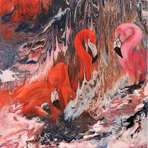 Beatrice Gugliotta, Flamingo - Familie, Tiere: Luft, Dekoratives, Moderne, Expressionismus