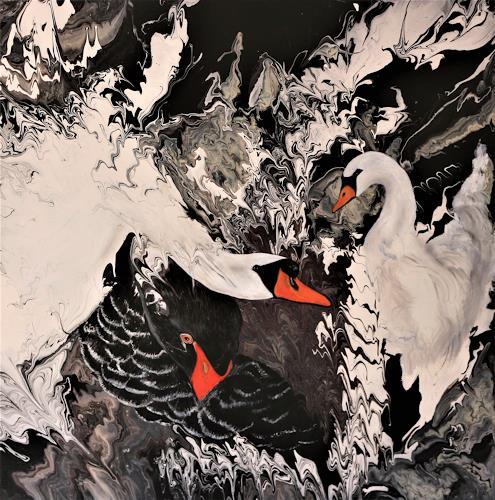Beatrice Gugliotta, Schwanentanz, Tiere, Natur, Neue Figurative Malerei, Expressionismus