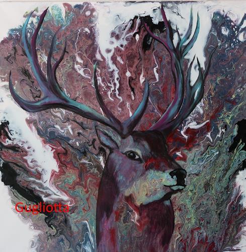 Beatrice Gugliotta, Hirsch, Tiere, Natur, Neue Figurative Malerei