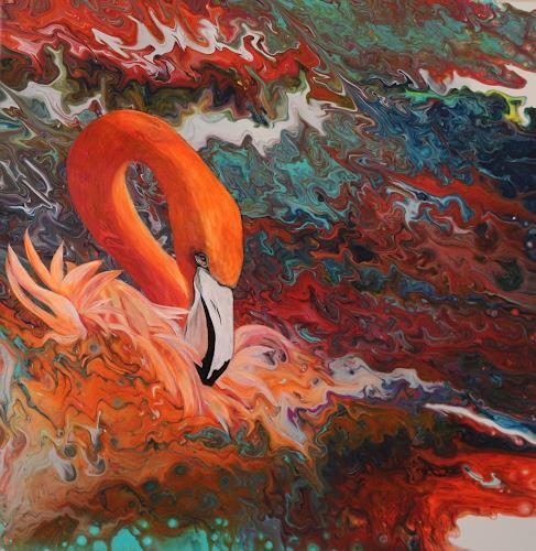 Beatrice Gugliotta, Flamingo, Tiere, Fantasie, Gegenwartskunst, Expressionismus