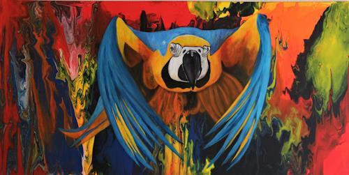 Beatrice Gugliotta, Papagai Zuzumi, Tiere: Luft, Natur, Neue Figurative Malerei, Expressionismus
