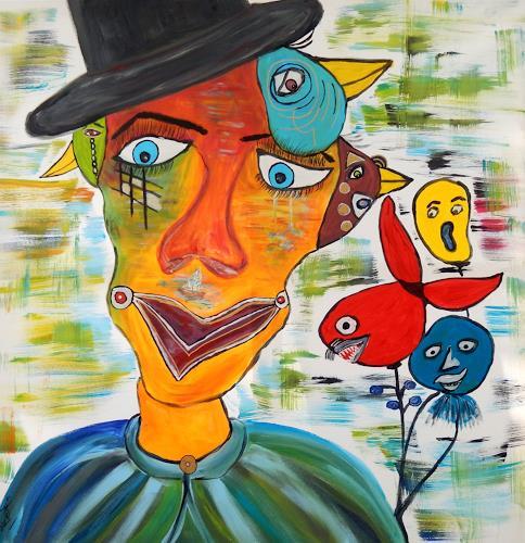 BRIGITTE, Vogel im Kopf, Skurril, Abstraktes, Abstrakte Kunst, Abstrakter Expressionismus