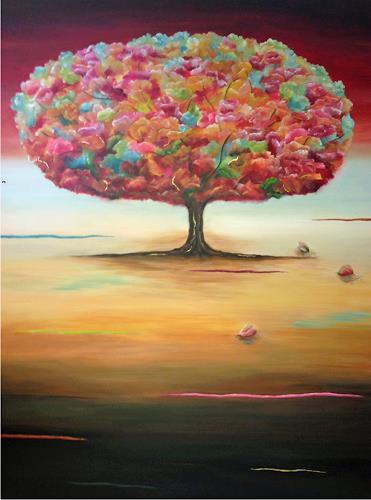 Angelina Casadei, Tree of Happiness, Fantasie, Poesie, Art Déco, Expressionismus
