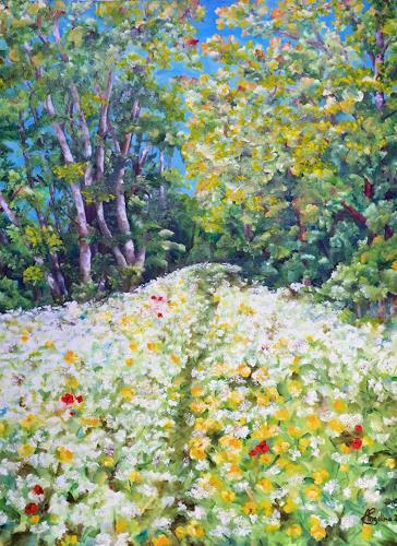 Angelina Casadei, Blütenteppich, Landschaft: Frühling, Poesie, Expressionismus