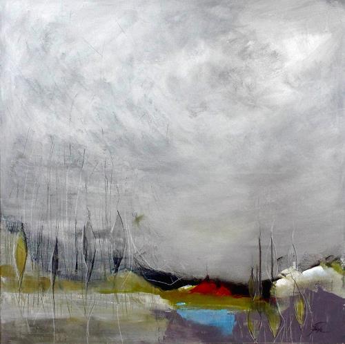 Susanne Reske, Das alte Boot am Fluss, Landschaft, Abstrakte Kunst, Expressionismus