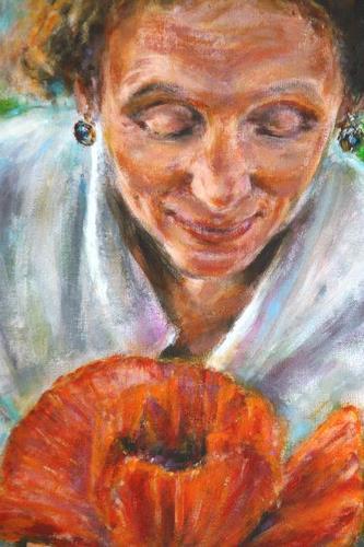 Pavol Kurek, whispering red poppy, Menschen: Gesichter, Pflanzen: Blumen, expressiver Realismus