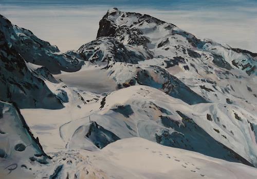 Peter Oberthaler, Höchkönig mit Matrashaus, Landschaft: Berge, Natur: Diverse, Gegenwartskunst, Expressionismus