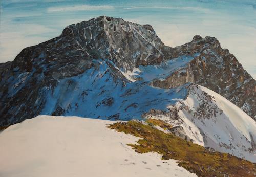Peter Oberthaler, Hochseiler und Zint, Landschaft: Berge, Natur: Diverse, Gegenwartskunst, Expressionismus