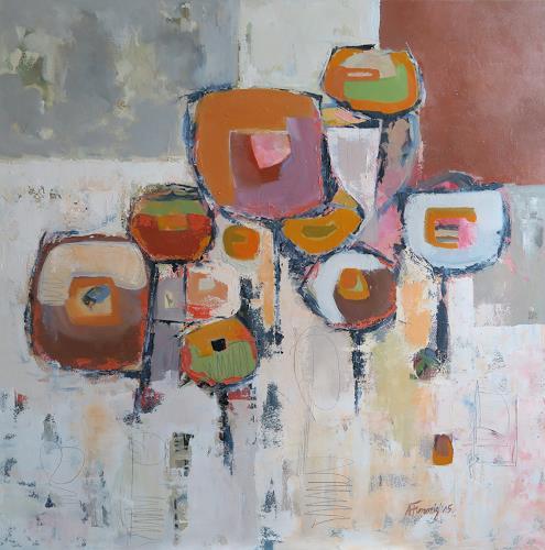 Angela Fusenig, Komposition VI, Abstraktes, Pflanzen: Blumen, Gegenwartskunst