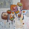 Angela Fusenig, Komposition 6, Abstraktes, Pflanzen: Blumen, Gegenwartskunst