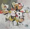 Angela Fusenig, Komposition 8, Abstraktes, Pflanzen: Blumen, Abstrakter Expressionismus
