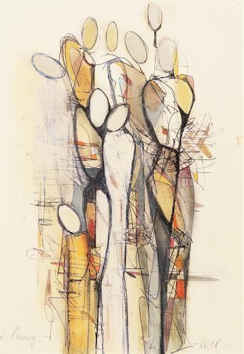 Angela Fusenig, Figurengruppe, Menschen: Frau, Diverse Menschen, Gegenwartskunst, Expressionismus