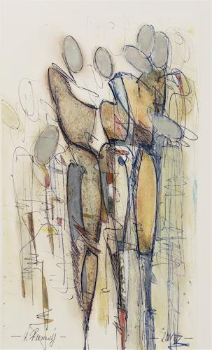 Angela Fusenig, Zeichnung figürlich, Menschen: Gruppe, Menschen: Frau, Gegenwartskunst