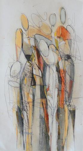 Angela Fusenig, Zeichnung figürlich, Menschen: Frau, Menschen: Gruppe, Gegenwartskunst