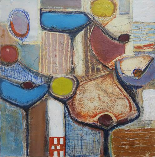 Angela Fusenig, Patchwork II, Abstraktes, Pflanzen: Blumen, Gegenwartskunst, Expressionismus