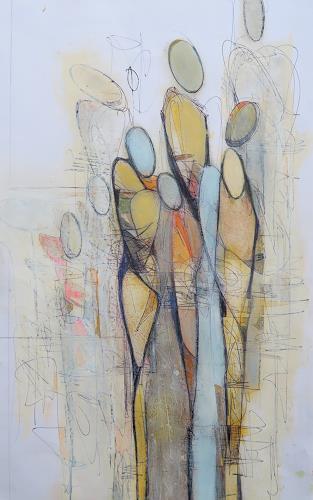 Angela Fusenig, Zeichnung figürlich19/1, Menschen: Frau, Menschen: Gruppe, Gegenwartskunst, Expressionismus