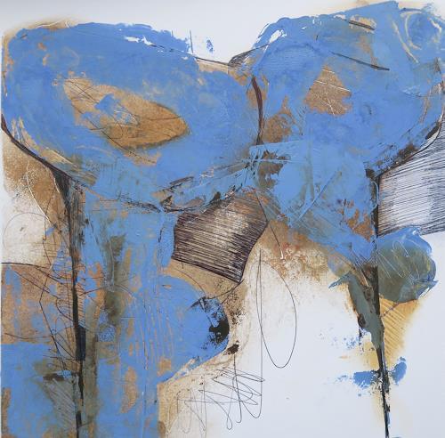 Angela Fusenig, Blue velvet, Abstraktes, Pflanzen: Blumen, Informel