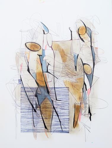 Angela Fusenig, Figürliche Komposition 3/21, Menschen: Gruppe, Diverse Menschen, Gegenwartskunst, Expressionismus