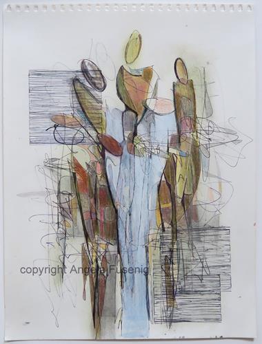 Angela Fusenig, Figürliche Komposition 6/21, Menschen: Gruppe, Menschen: Frau, Gegenwartskunst