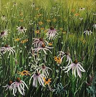 Rosa-Gasche-Pflanzen-Landschaft-Sommer-Moderne-expressiver-Realismus
