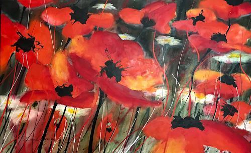 Rosa Gasche, Ich leuchte Dir, Pflanzen: Blumen, Natur: Erde, expressiver Realismus, Abstrakter Expressionismus