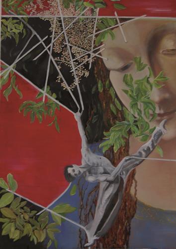 Claudia Erbelding, Hommage to Leonardo da Vinci, Menschen, Diverse Pflanzen, Gegenwartskunst, Abstrakter Expressionismus