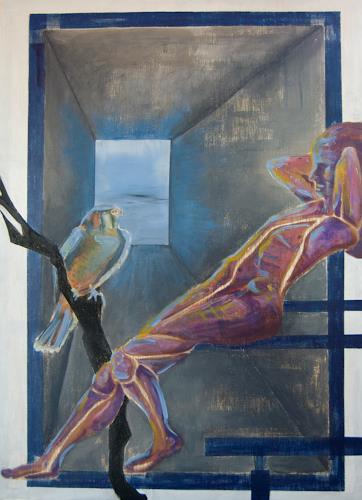 Claudia Erbelding, falke, Menschen: Mann, Tiere: Luft, Postsurrealismus, Abstrakter Expressionismus