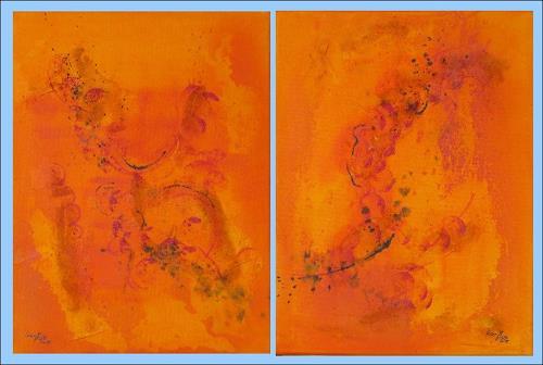 Karin Ott-Hofmann, Fantasie in orange, Abstraktes, Abstrakte Kunst