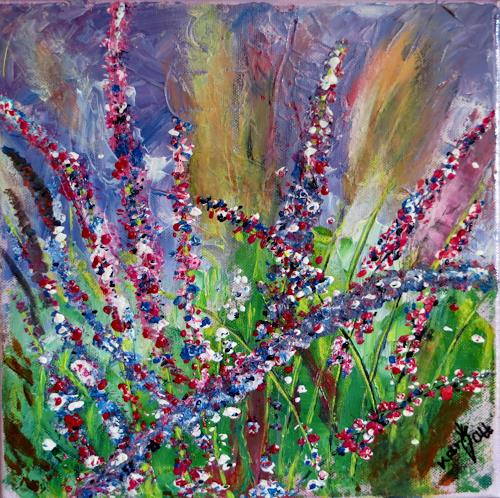 Karin Ott-Hofmann, Blühender Salbei, Diverse Pflanzen, Natur, expressiver Realismus