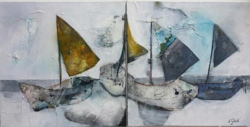 Nicole Glück, Gestrandet, Landschaft: See/Meer, Abstrakte Kunst, Expressionismus