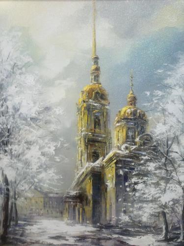 Marina Davidova, The first snow, Landschaft, Bauten: Haus, Postimpressionismus, Expressionismus