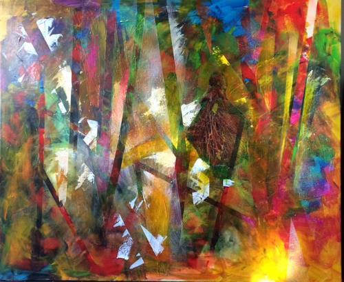 Sibylle Frucht, Forest, Fantasie, Abstraktes, Gegenwartskunst, Abstrakter Expressionismus