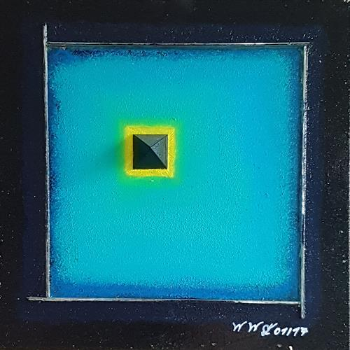 WWSt, Schwarze Pyramide im Blau, Abstraktes, Colour Field Painting